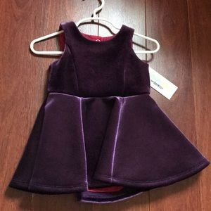 Genuine kids velour dark purple dress